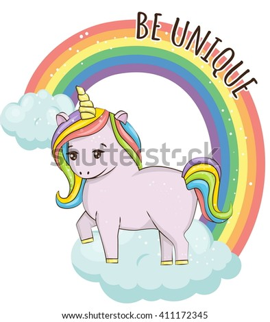 Adorable unicorn horse in the sky on clouds in front of the rainbow illustration. Design elements with motivating text for mugs, t-shirts, cards, posters. - stock vector