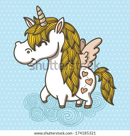 Adorable Unicorn. Vector illustration of an unicorn - stock vector