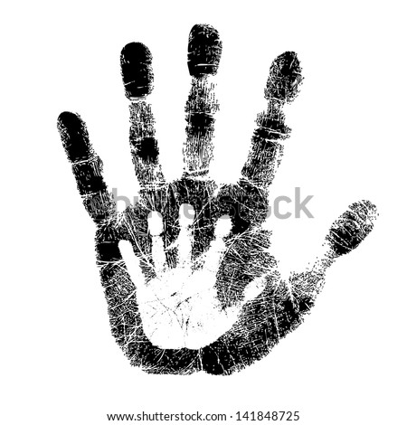 Adult and child hand print - stock vector
