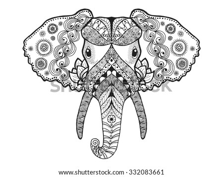Adult Antistress Coloring Page Black White Hand Drawn Doodle Animal Ethnic Patterned Vector