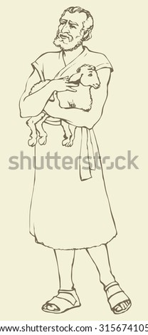 Adult bearded historic medieval herdsman holding little goat for sacrifice, in antiquity middle east judaic biblical attire: robe and boots. Vector contour ink drawn sketch in retro style pen on paper - stock vector