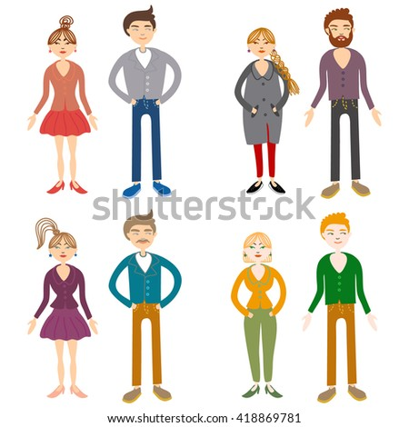 adult boy and girl couple, modern family families. Modern family stages. Typical family. People couples, people family isolated vector. People together