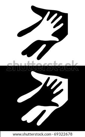 Adult Care About Child. Two Hands Symbol. Vector Illustration - stock vector