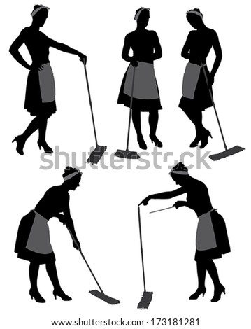 Adult cleaner maid woman silhouette with mop and uniform cleaning floor, isolated on white background - stock vector