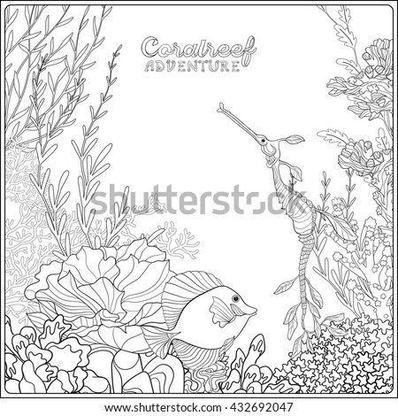 Adult Coloring Book Coloring Page Underwater Stock Vector 432692047