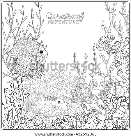 Set hand drawn sketches easter rabbit stock vector for Coloring pages of coral reefs