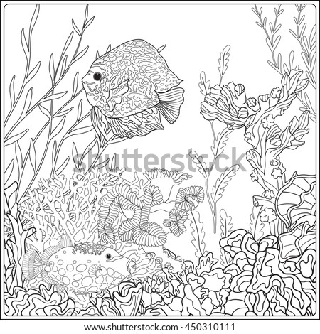 Adult Coloring Book Coloring Page Underwater Stock Vector ...