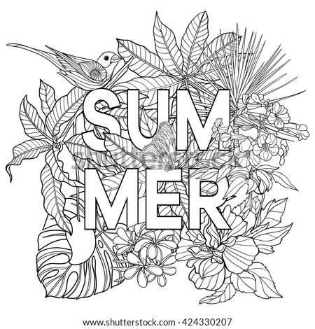 adult coloring book coloring page with word summer and tropical birds and plants - Tropical Coloring Pages
