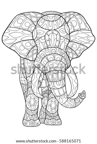 Adult Coloring Book Elephant Artdoodle Style Stock Vector (Royalty ...
