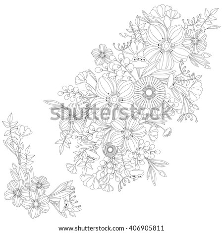 Adult Coloring Book Floral Pattern - vector eps 10 - stock vector