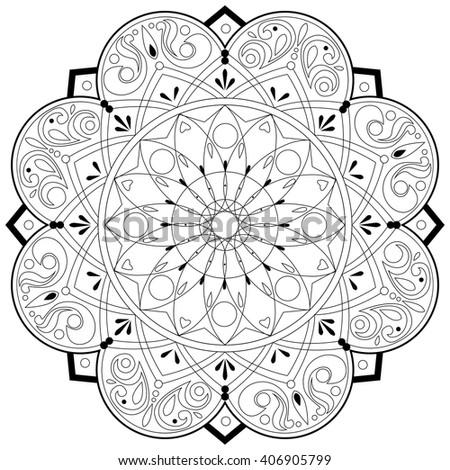 Adult Coloring Book Mandala Pattern - vector eps 10 - stock vector