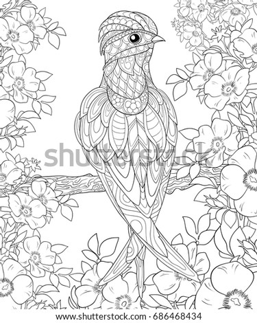 Adult Coloring Bookpage A Bird On Brunch With FlowersZen Art Style