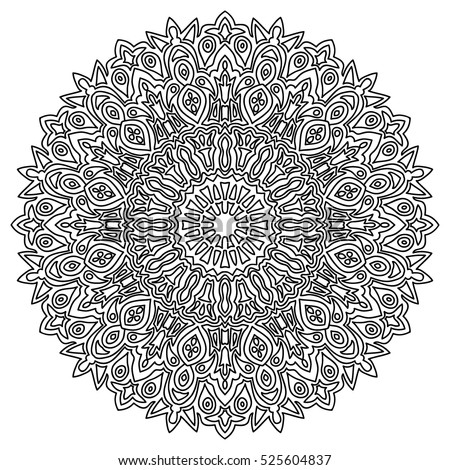 Adult Coloring Book Page Black And White Round Pattern Ethnic Hand Drawn Mandala
