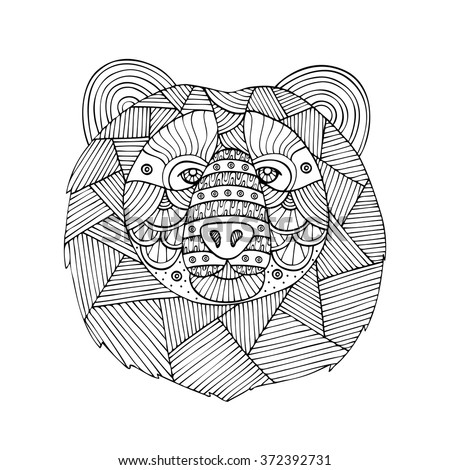 Adult coloring book page design with the image of the Northern bear. Coloring book page for adult. Vector illustration in the style of zentangle, doodle, ethnic, tribal design. - stock vector