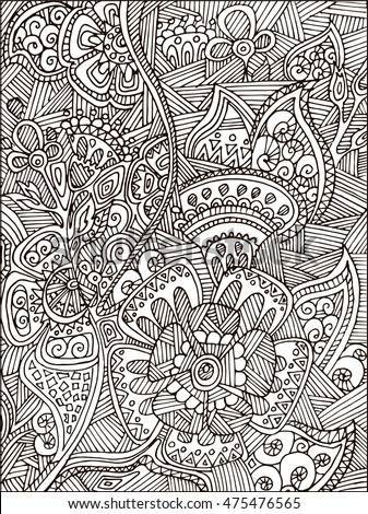 Adult Coloring Book Page For Adults Or Kids Black Vector Illustration Template With Fantastic Flowers
