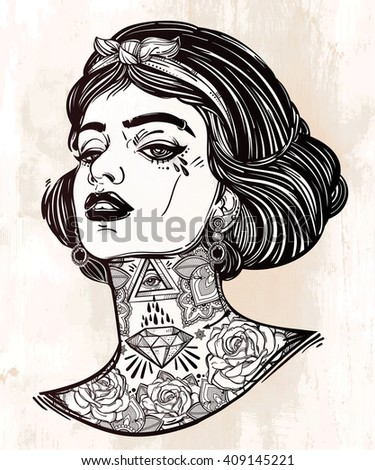 Adult coloring book page with the face of young tattooed girl. Female portrait in flash tattoo style. Isolated vector illustration in street art design.