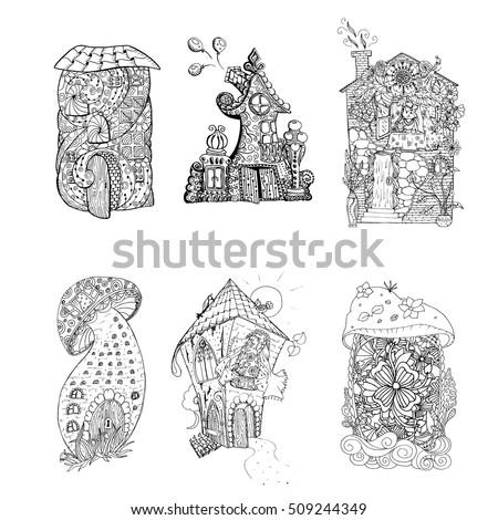 Fairy house stock images royalty free images vectors for Fairy house coloring pages