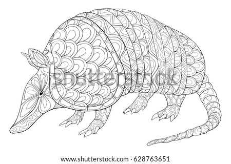 Charming Adult Coloring Page Armadillo Animal.Zen Art Style Illustration.