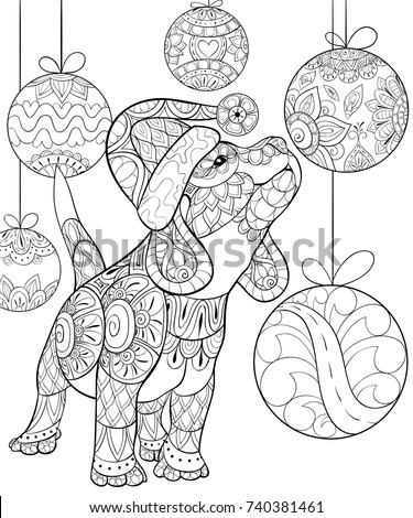 adult coloring pagebook a cute christmas puppydogzen art style illustration