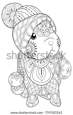 Adult Coloring Pagebook A Cute Little Rabbit Wearing Christmas HatZen Art Style