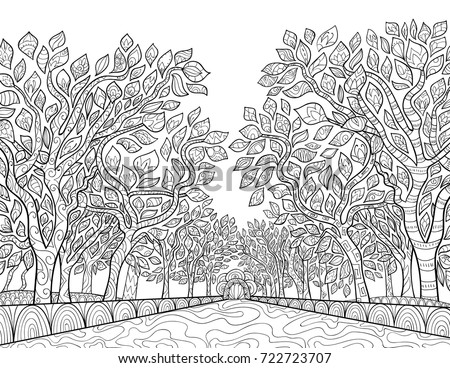 Adult Coloring Pagebook Park Trees Tangle Stock Vector (Royalty Free ...