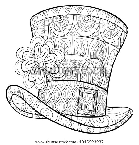 Adult coloring pagebook saint patrick hat stock vector Zen coloring book for adults download