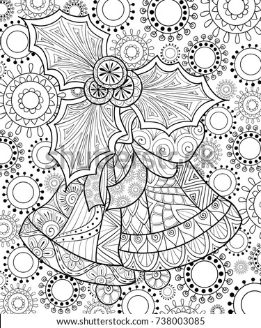 Adult Coloring Pagebook Christmas HolidayZen Tangle Art Illustration