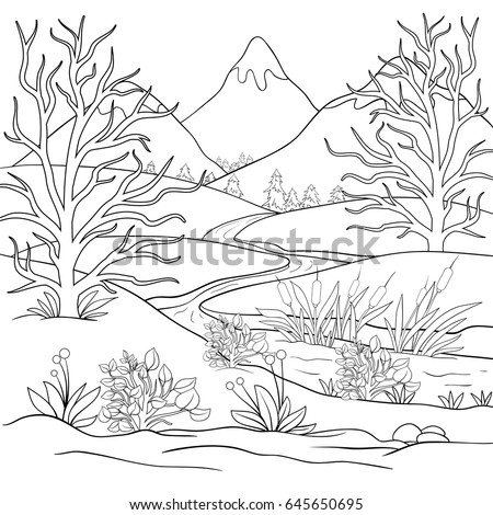 adult coloring pagebook mountains landscapezen art style illustration - Mountain Landscape Coloring Pages