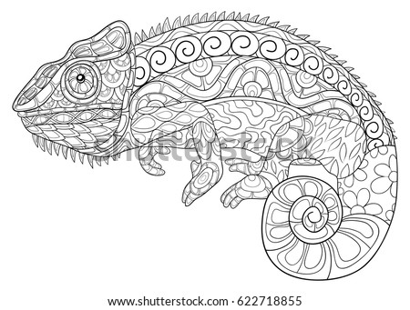 adult coloring page chameleon zen art style illustration - Chameleon Coloring Pages Print