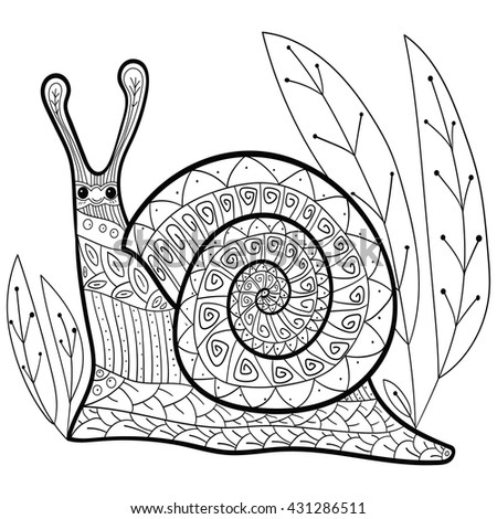 Adult Coloring Page Cute Snail Vector Illustration For Anti Stress Colouring  Book. Whimsical Black Outline