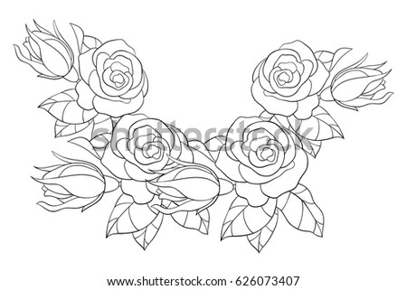 Adult Coloring Page Flowers Leaves Aa Stock Vector 626073407 ...