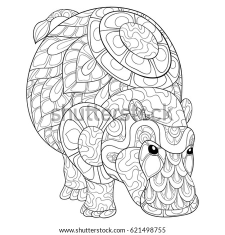 Kids coloring pages stock images royalty free images for Hippo coloring pages