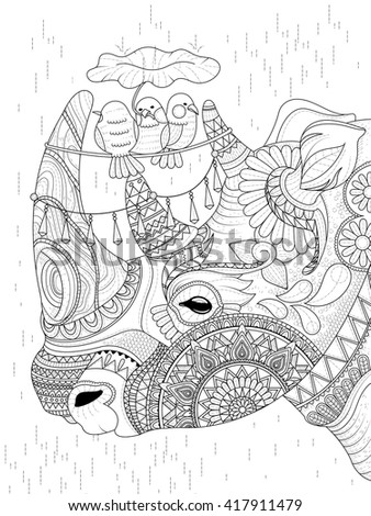adult coloring page - lovely rhino with birds  - stock vector