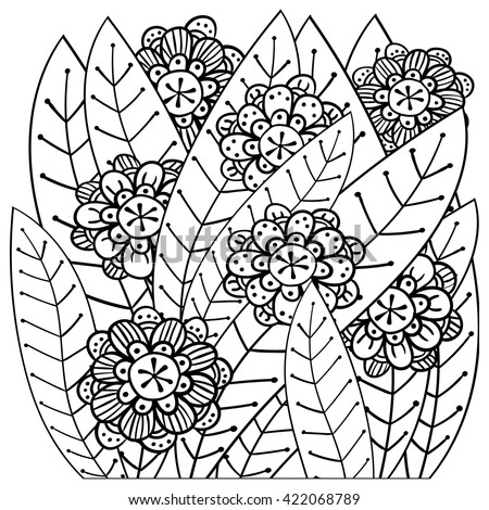Adult Coloring Page Cute Clover Vector Stock Vector ...