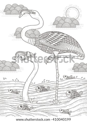 adult coloring page with cranes stand in the river