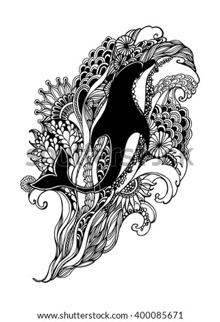 Adult Coloring Page with dolphin. Dolphin vector. Dolphin isolated. Dolphin tattoo. Dolphin vintage. Dolphin book illustration. Vector illustration. - stock vector