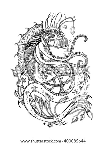 Adult Coloring Page With Sea Monster Vector Eps 10 Format