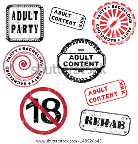 Adult content and bachelors party stamps collection isolated on white - stock vector