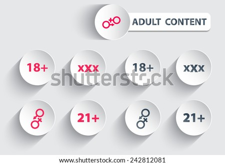 adult content trendy round icons with shadow vector illustration, eps10, easy to edit - stock vector