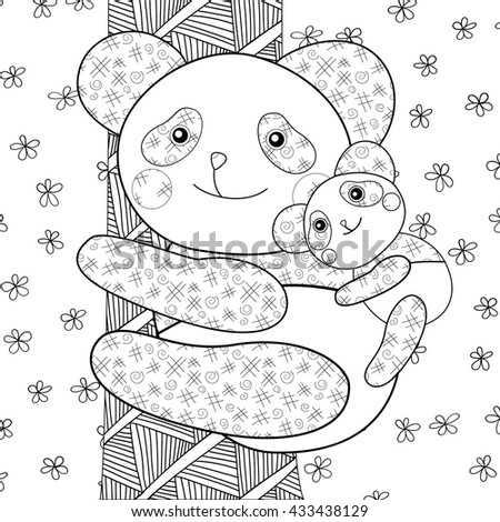 adult kid coloring page panda with its baby on tree whimsical line art vector