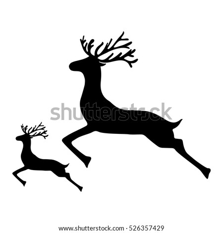 Adult Reindeer and baby deer jumping on a white background, vect