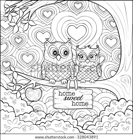 Adults coloring page of two cute little owls