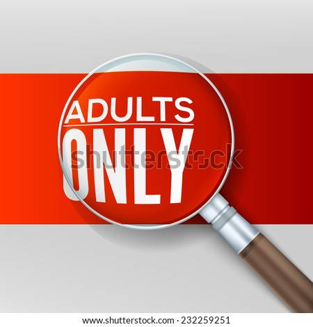 Adults only. Red banner with a magnifying glass, vector illustration. - stock vector