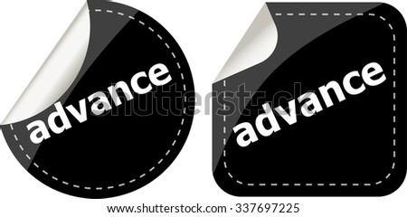 advance word stickers set, icon button, business concept vector illustration - stock vector