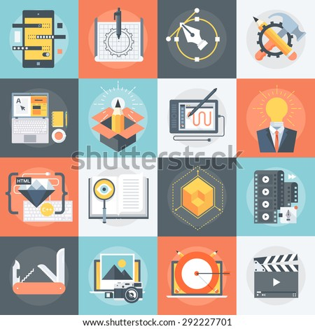 """Advanced """"Design and Production"""" Flat Icon Set - stock vector"""