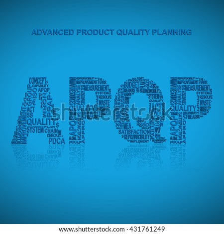 Advanced product quality planning typography background. Blue background with main title APQP filled by other words related with advanced product quality planning method. Vector illustration