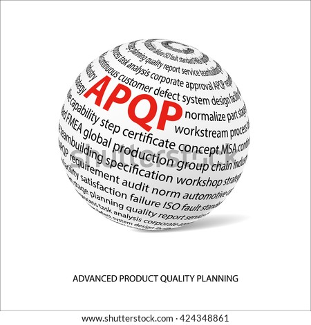 Advanced product quality planning word ball. White ball with main title APQP and filled by other words related with APQP method.  Industrial quality improvement. Vector illustration