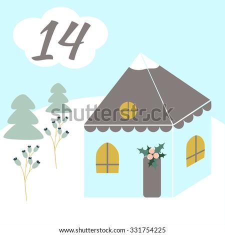 Advent calendar. Christmas calendar. Vector illustration. Countdown to Christmas 14 - stock vector