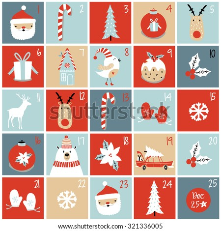 Advent calendar. Christmas poster. - stock vector