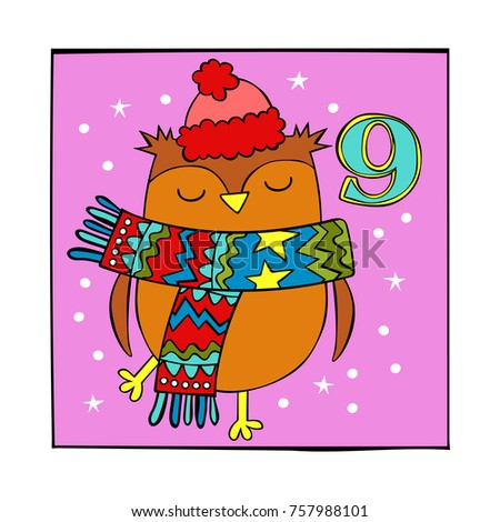 Advent calendar. Owl. Knitted hat and scarf. White dots. 9. Isolated vector objects on white background.